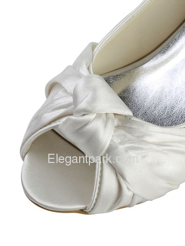 Elegantpark Ivory Peep Toe Low Heel Satin Wedding & Evening Party Shoes (EP2045)