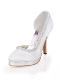 Elegantpark Almond Toe Modern Satin Beading Platforms Wedding Evening Party Shoes