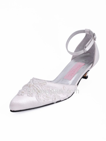 Elegantpark Satin Upper Pointy Toes Stiletto Heel Applique Pearl Buckle Stylish Wedding Bridal Shoes (A901)