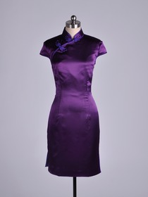Grape Traditional Mandarin Cap Sleeve Knee-Length Silk Crepe Satin Cheongsam
