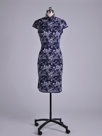 Navy Blue Traditional Mandarin Cap Sleeve Knee-Length Cotton Cheongsam