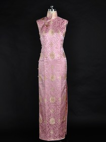 Pink Traditional Sleeveless Ankle-Length Brocade Silk Brocade Cheongsam