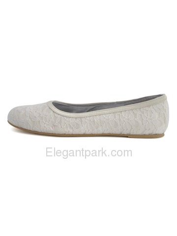Elegantpark White Round Toe Flat Lace Bridal Evening Party Shoes (EP11104)