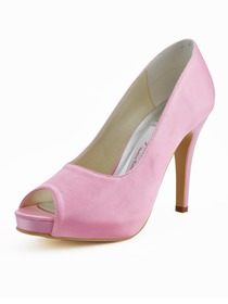 Elegantpark Pink Peep Toe Stiletto Heel Platform Satin Prom Party Shoes