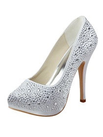 Elegantpark Closed Toe Stiletto Heel Platform Satin Rhinestones Evening & Party Shoes
