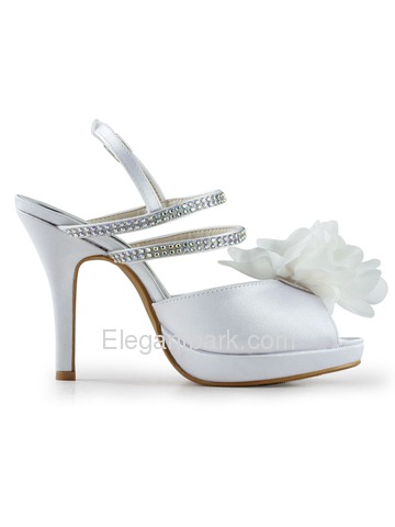 Elegantpark Peep Toe Flowers Rhinestones Platform Stiletto Heel Satin Evening Party Shoes (EP2050-PF)