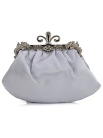 Gorgeous Satin Evening Bag Silver Handbag Purse