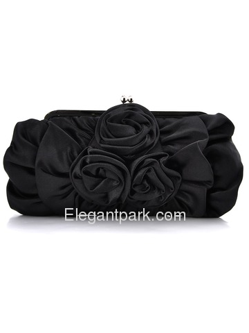 Modern Ivory Flower Satin Wedding/Evening Handbag