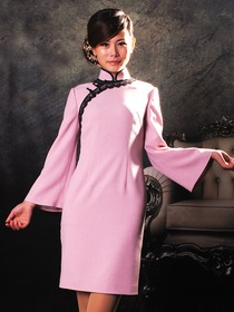 Pink Synthetic Woolen Trumpet-shapped Sleeves Cheongsam