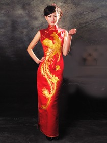 Silk Brocade Phoenix Pattern Golden Thread Emboidery Bridemaid-style Long Cheongsam