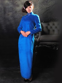 High Quality Blue Cashmere Long sleeves Ankle Length Cheongsam