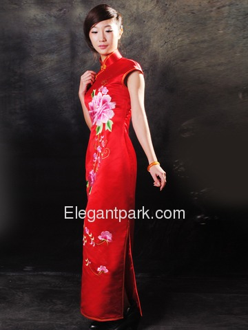Red Silk Brocade Peony Pattern Machine Embriodery Bridal Cheongsam