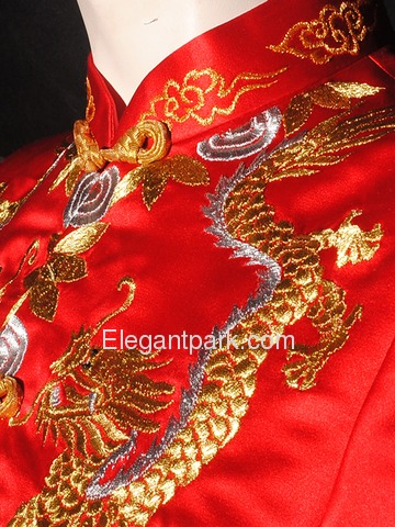 Suzhou-style Emboidered Dragon and Phoenix Bridal Satin Coat and Dress Cheongsam