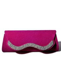Elegant Hot Pink Satin and Velvet Rhinestones Evening Bag