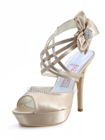 Elegantpark Blue Peep Toe Platform Flower Satin Wedding Evening Party Sandals (EP2031-PF)