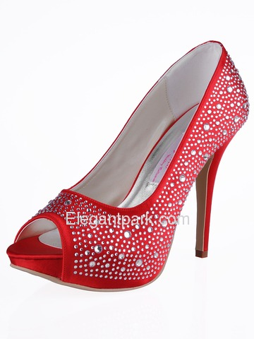 Elegantpark Satin Stiletto Heel Peep Toe/Pumps with Rhinestones Party/Evening Shoes(More Color Available) (EP11066-IP)