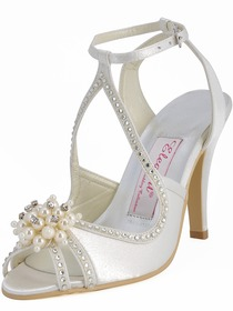 Elegantpark Satin Stiletto Heel With Pearls Wedding Shoes
