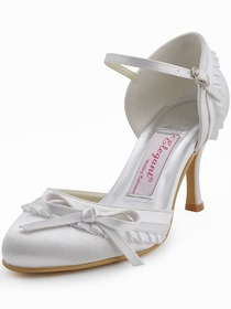 Elegantpark Satin Closed Toe Stiletto Heel Bridal&Evening Shoes With Bow And Buckle