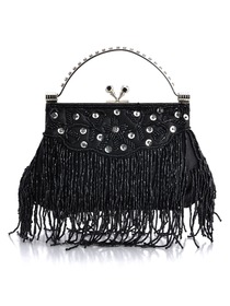 Fashion Black Satin Hand Bags With Beads