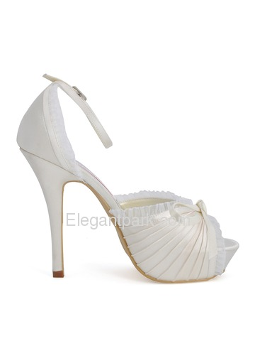 Elegantpark Satin Stiletto Heel Platform Pumps With Bowknot Wedding Shoes (EP11056-IP)