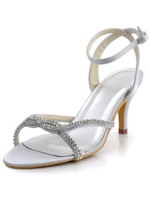 Elegantpark Silver Open Toe Satin Rhinestones Stiletto Heel Slingback Bridal Party Shoes