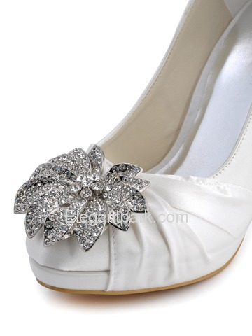 Elegantpark Round Toe Satin Rhinestones Stiletto Heel Platform Bridal Party Shoes (EP2058-PF)