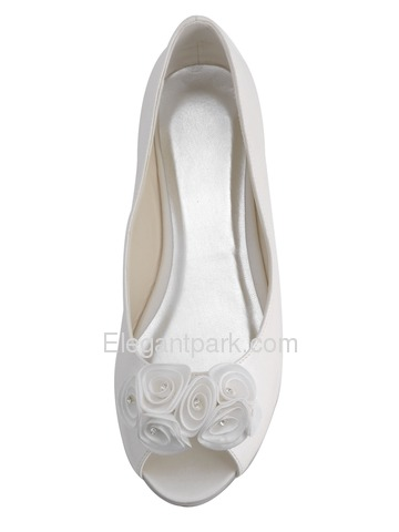 Elegantpark Classic Ivory Peep Toe Flower Satin Wedding Bridal Flats (EP31015)