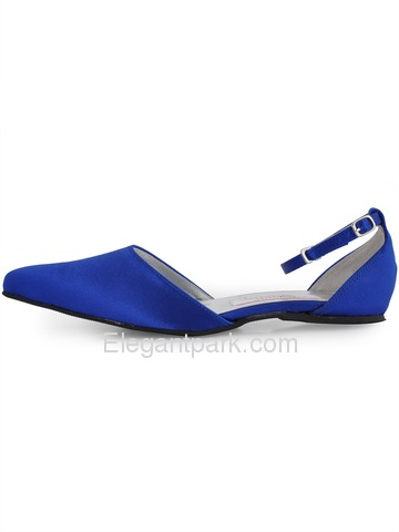 Elegantpark Blue Pointy Toe Buckle Low Heel Satin Wedding Bridal Flats (EP41034)