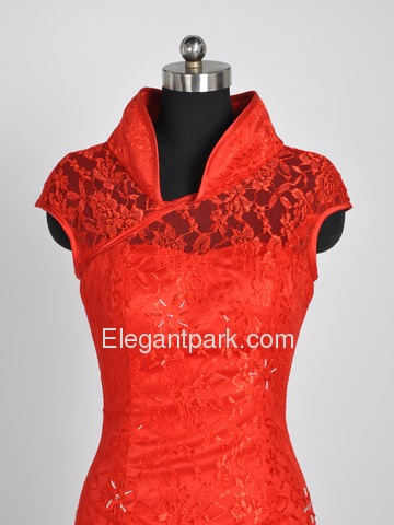 Red A-Line Mandarin Floor-length Lace Beading Improved Cheongsam