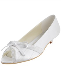 Elegantpark Peep Toe Bowknot Kitten Heel Satin Wedding Bridal Shoes