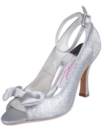 Elegantpark Silver Peep Toe Stiletto Heel Glitter Evening & Party Shoes