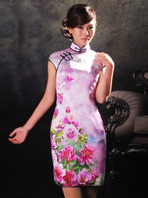 Lilac Mandarin Collar Silk Satin Cap Sleeves Handprinted Cocktail Length Cheongsam