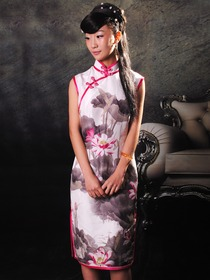 Pink Chinese Monochromes Pattern Sleeveless Knee Length Silk Satin Mandarin Collar Cheongsam