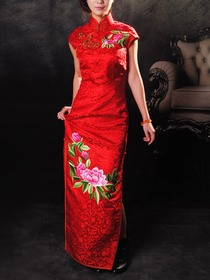 Red Embroidery Silk Brocade Mandarin Collar Single-Line & Flower Botton Floor Length Cheongsam