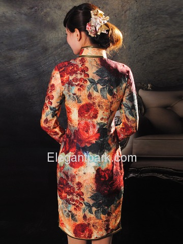 Handprinted mixed color Mandarin Collar Single-Line Silk Satin Long Sleeve Cocktail Length Cheongsam