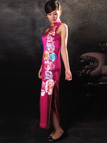 Fuchsia Peony Embroidery Mandarin Collar Silk Doupion Tea Length Sleeveless Cheongsam