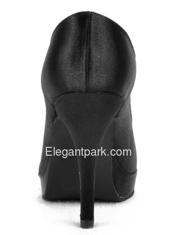 Elegantpark Black Satin Platforms Stiletto Heel Party Shoes (EP11007-PF)