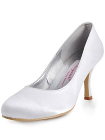 Elegantpark White Round Toe Pump Spool Heel Satin Evening Party Wedding Shoes