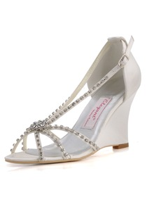 Elegantpark Satin Wedge Heel With Rhinestone Wedding Bridal Sandals