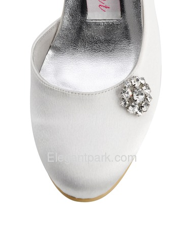 Elegantpark Pumps Rhinestone Spool Heel Satin Wedding Bridal Shoes (E0618)
