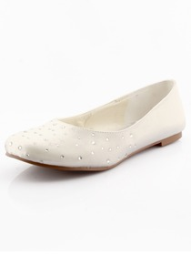 Elegantpark Ivory Closed Toe Flat Satin Rhinestones Shoes