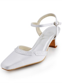 Elegantpark Satin Square Toe Chunky Heel Rhinestones Bridal Shoes With Buckle