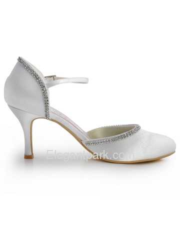 Elegantpark Satin Stiletto Heel Round Toe Rhinestones Wedding Shoes With Buckle (EP11068)