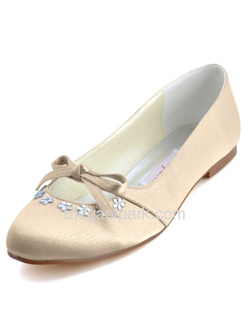 Elegantpark Pink Round Toe Bow Rhinestone Satin Wedding Bridal Evening Flat Shoes (EP2030)