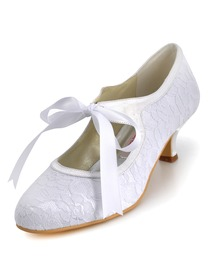 Elegantpark Lovely Round Toes Kitten Heel Lace And Satin Wedding Bridal Shoes