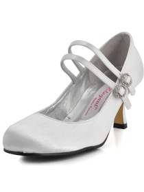 Elegantpark White Round Toes Stiletto Heel Satin Shoes