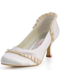 Elegantpark Ivory Pointy Toes Chunky Heel Satin Reception Shoes
