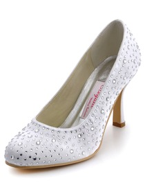 Elegantpark White Almond Toe Rhinestone Stiletto Heel Satin Wedding Bridal Pumps