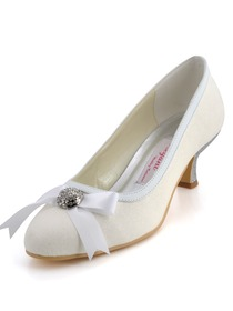 Elegantpark Ivory Round Toe Rhinestone Bowknot Glitter Evening & Party Shoes