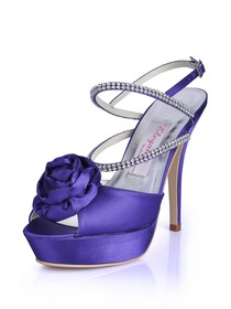 Elegantpark Purple Peep Toe Stiletto Heel Satin Flower Rhinestones Evening Party Shoes